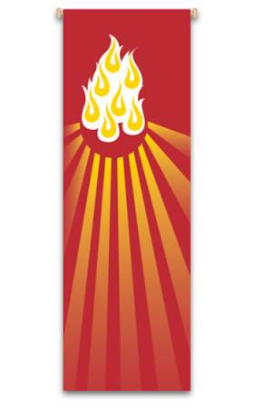 Red Pentecost Flames Banner 7116, 7216, banners, church banners, flames, flame, pentecost, red, holy spirit, decoration, church decoration, decor, church decor, wall hangings, sanctuary appointments, appointments