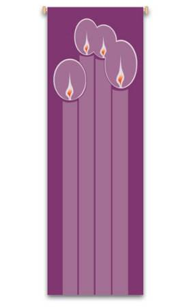 Purple Advent Candles Banner 7119, 7219, banners, church banners, advent, christmas,  advent candles, purple, decoration, church decoration, decor, church decor, wall hangings, sanctuary appointments, appointments