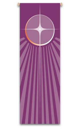 Purple Advent Star Banner 7120, 7220, banners, church banners, advent, christmas, star,  advent star, purple, decoration, church decoration, decor, church decor, wall hangings, sanctuary appointments, appointments