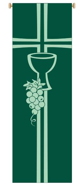Green Chalice and Grapes Banner