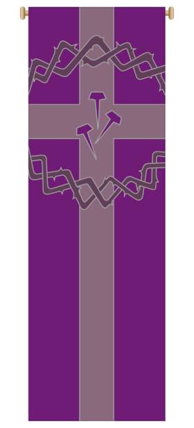Purple Crown of Thorns/Nails Banner 7154, banners, banner, purple banner, Crown of Thorns, Lent, lenten Banner,  decoration, church decoration, decor, church decor, wall hangings, sanctuary appointments, appointments, SL-7154