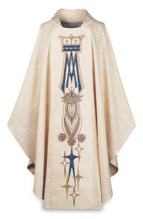 1302 White Marian Gothic Chasuble 1302, Chasuble, Marian, Mary, Slabbinck, Pascal, Gothic Chasuble, vestment, priest garment, vestment, apparel, chasable