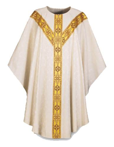 3365 White Tassilo Gothic Chasuble 3365, Chasuble, Slabbinck, damask, Tassilo, Gothic Chasuble, vestment, priest garment, vestment, apparel, chasable