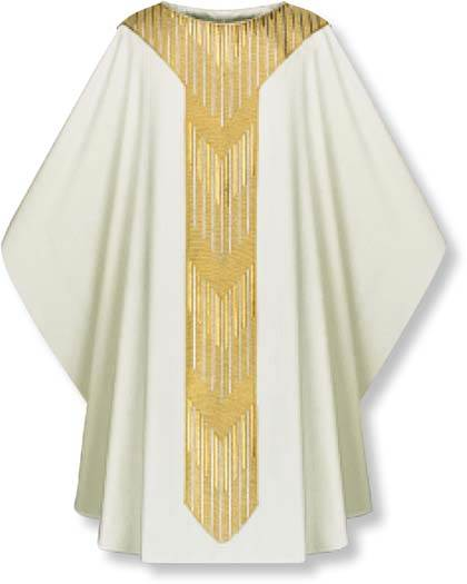 3851 Gothic Chasuble in White Cantate Fabric 3851, Chasuble, Slabbinck, Slabbinck®,  vestment,  robe, clergy apparel, cantate, gothic