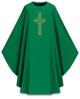 5059 Dark Green Dupion Chasuble with Embroidered Cross 5059,