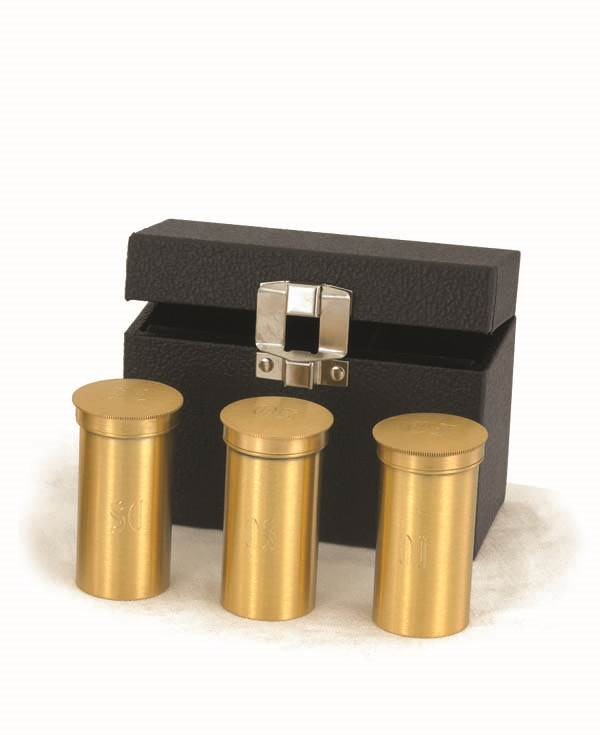 9748G Sacristy Oil Stock Set with Case oil stock, triple oil stock, sacred oil, church goods, church supplies, oil vessal, sacred oil, 9748g, gold plated, baptismal oil, case and oil,