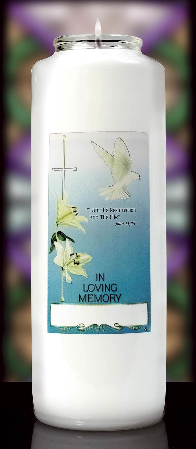 In Loving Memory Glass Bottle Style Candle