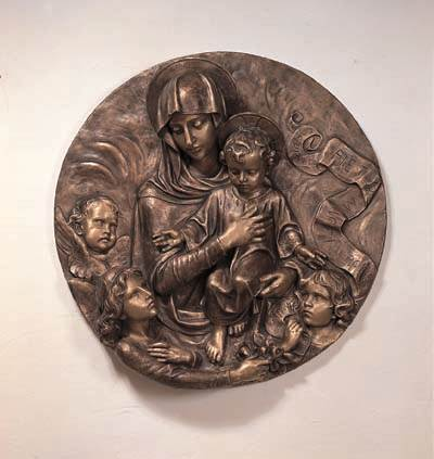 Our Lady and Child Medallion Wall Relief - DM780/33
