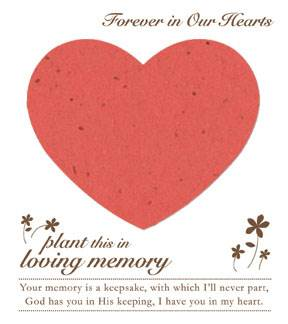 Memorial Plantable Heart on Forget Me Not Seeded Paper 15/Pkg