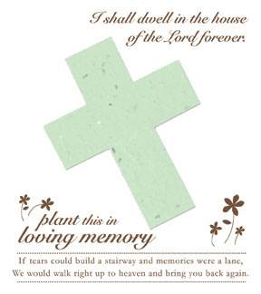 Memorial Plantable Cross on Forget Me Not Seeded Paper 15/Pkg