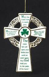 "5"" Porcelain Irish Cross Ornament"