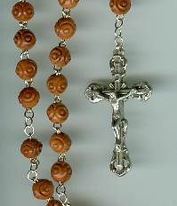 Brown Cocoa Bead Rosary rosary, brown wood, silver crucifix, silver center, sacramental rosary, special occasion,11201, carved bead, cocoa bead