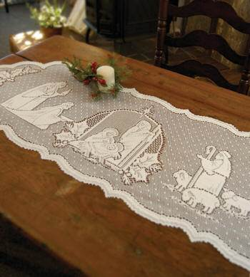 Lace Nativity Table Runner Lace Nativity Table Runner, quantity discount, qty discount