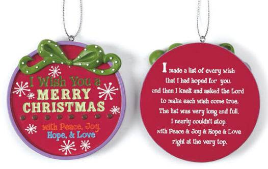 I Wish You A Merry Christmas' Ornament