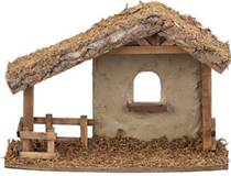 Wood Stable For Nativity Figures, Fontanini