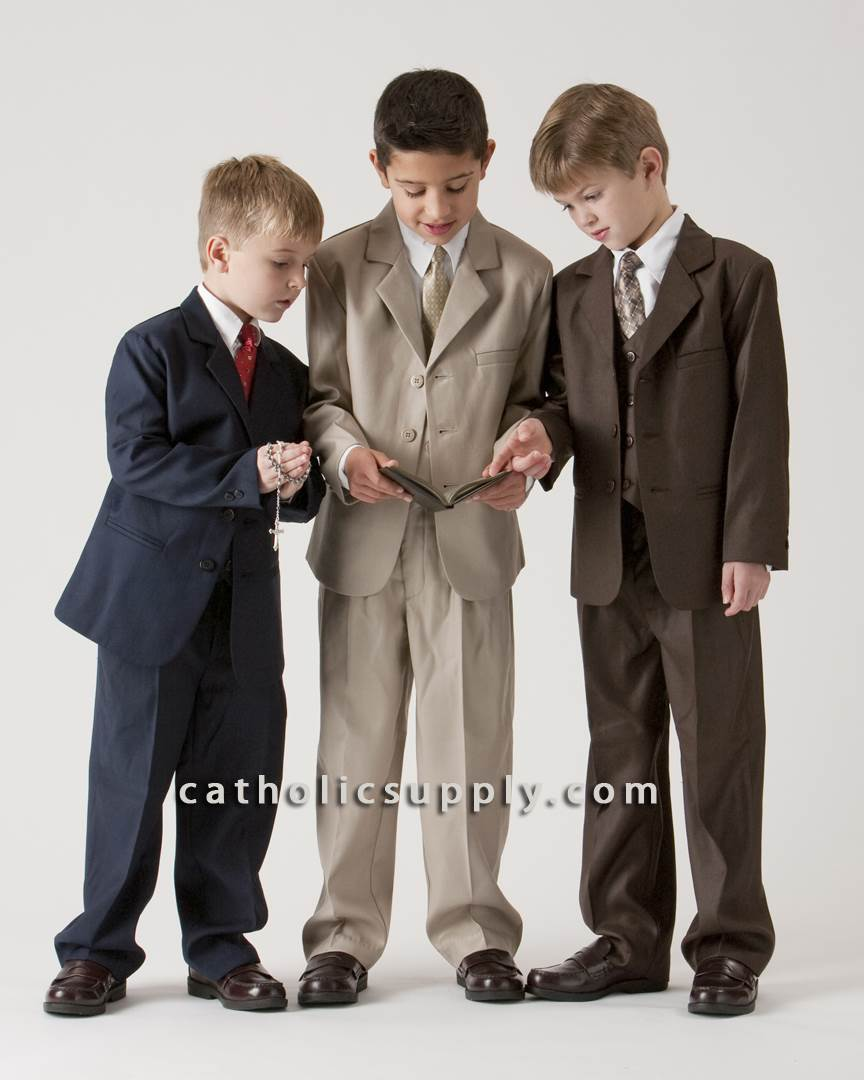 Boys 5 Piece Suit Dark Brown