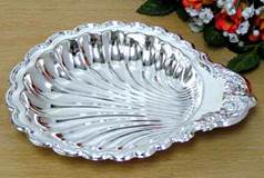 "Steel, Silver Plated Baptismal Shell 6"" X 5"""