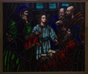Jesus Teaching Stained Glass Window