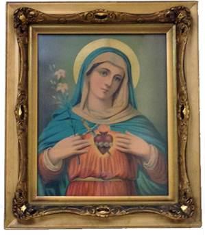"Sacred Heart Mary Picture In Wood Gilded Frame 27"" X 23"""