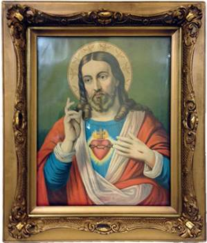 "Sacred Heart Picture In Wood Gilded Frame 27"" X 23"""