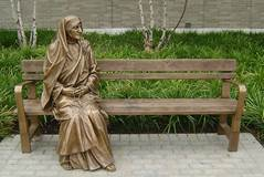 Bronze Blessed Mother Teresa of Calcutta Bench at Xavier University, Ohio Copyright Catholic Supply of St. Louis Inc