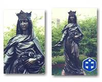 STATUARY FOR HOSPITALS  Antique Bronze  St. Elizabeth of Hungary Outdoor Statue  St. Elizabeth Hospital  Granite City, Illinois  © Copyright Catholic Supply of St. Louis, Inc.  All Rights Reserved