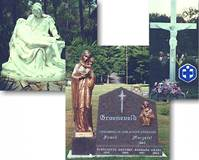 CUSTOM CEMETARY STATUARY  Cemetary Crucifix  St. Aloysius Church  Deiterich, Illinois  The Pieta  Sarasota, Florida  Cemetary/Memorial  Bronze Cast Madonna & Child  © Copyright Catholic Supply of St. Louis, Inc.  All Rights Reserved