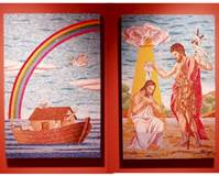 CUSTOM NOAHS ARK AND ST. JOHN THE BAPTIST MOSAICS  Custom Italian mosaic panels for St. Vincent de Paul Parish, Perryville, Mo.  © Copyright Catholic Supply of St. Louis, Inc.  All Rights Reserved