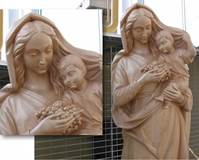 MADONNA WITH GRAPES WOODCARVED STATUE  © Copyright Catholic Supply of St. Louis, Inc.  All Rights Reserved
