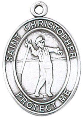 St. Christopher Sports Medal-Fishing silver necklace, st. christopher necklace, sports necklace, girl necklace, boy necklace, athlete gift,  first communion gift, reconciliation gift, sacramental gift, sport gift, fishing medal, fishing gift