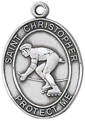 St. Christopher Sports Medal-Rollerblading silver necklace, st. christopher necklace, sports necklace, girl necklace, boy necklace, athlete gift,  first communion gift, reconciliation gift, sacramental gift, sport gift, rollerblading gift, rollerblading medal