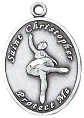St. Christopher Sports Medal-Ballet silver necklace, st. christopher necklace, sports necklace, girl necklace, boy necklace, athlete gift,  first communion gift, reconciliation gift, sacramental gift, sport gift, ballet medal, ballet gift