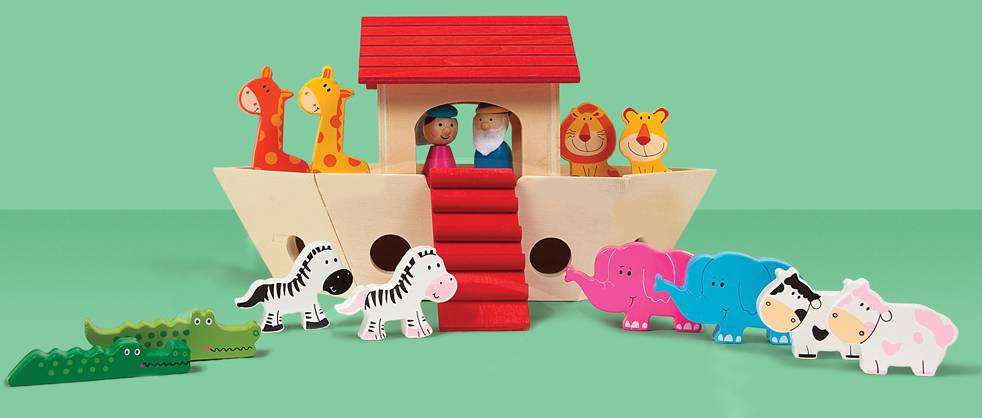 Colorful Wooden Noah%27s Ark Playset NOAHS ARK PLAYSET, NOAH TOY, NOAHS ARK TOY, NOAHS ARC TOY, NOAH%27S ARC PLAY SET