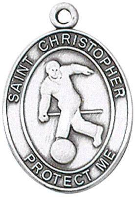 St. Christopher Sports Medal-Bowling silver necklace, st. christopher necklace, sports necklace, girl necklace, boy necklace, athlete gift,  first communion gift, reconciliation gift, sacramental gift, sport gift, bowling gift, bowling medal