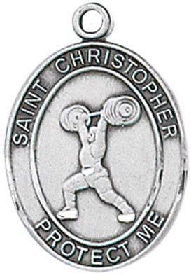 St. Christopher Sports Medal-Weightlifting silver necklace, st. christopher necklace, sports necklace, girl necklace, boy necklace, athlete gift,  first communion gift, reconciliation gift, sacramental gift, sport gift, weightlifting gift, weightlifting medal