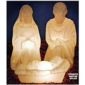 "28"" Outdoor Lighted White Pearl 3 Piece Holy Family  GF29, holy family, outdoor nativity, indoor nativity, lighted nativity, christmas gift, christmas decor, yard decor, church gift, church items, holy family, 57009"