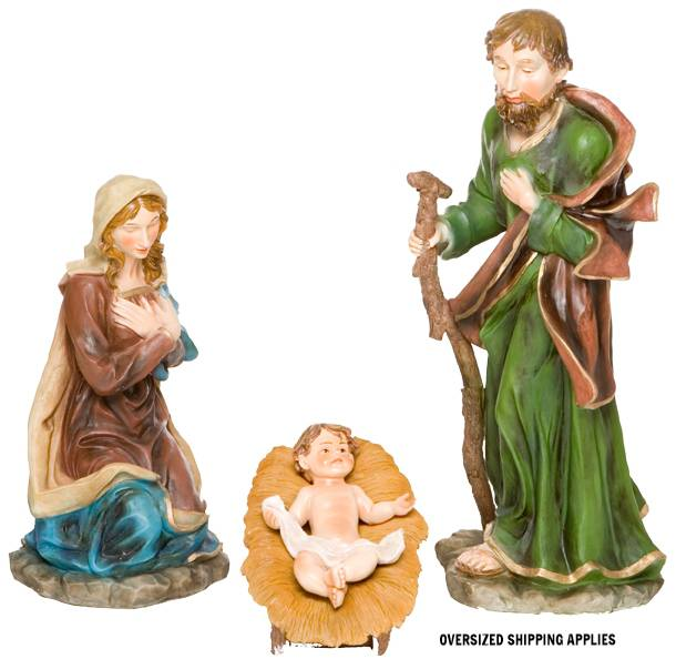 "29"" Full Color 4 Piece Holy Family Set xmas15i, outdoor nativity, indoor nativity, color nativity, christmas gift, christmas decor, yard decor, church gift, church items, holy family,53393, 53392"