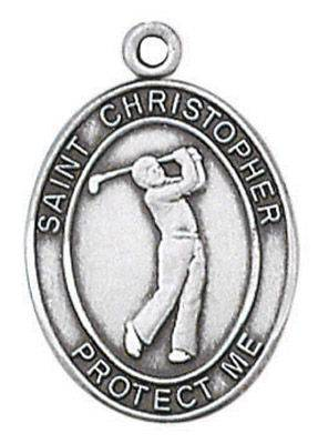 St. Christopher Sports Medal-Golf silver necklace, st. christopher necklace, sports necklace, girl necklace, boy necklace, athlete gift,  first communion gift, reconciliation gift, sacramental gift, sport gift,golf gift, golfb medal