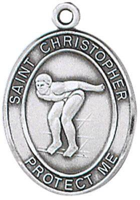 St. Christopher Sports Medal-Swimming silver necklace, st. christopher necklace, sports necklace, girl necklace, boy necklace, athlete gift,  first communion gift, reconciliation gift, sacramental gift, sport gift, swimming medal, swimming gift