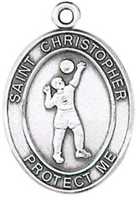 St. Christopher Sports Medal-Volleyball silver necklace, st. christopher necklace, sports necklace, girl necklace, boy necklace, athlete gift,  first communion gift, reconciliation gift, sacramental gift, sport gift, volleyball gift, volleyball medal