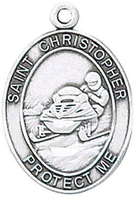 St. Christopher Sports Medal-Snowmobiling silver necklace, st. christopher necklace, sports necklace, girl necklace, boy necklace, athlete gift,  first communion gift, reconciliation gift, sacramental gift, sport gift, snowmobiling gift, snowmobiling medal