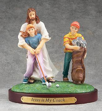Jesus Sports Statue-Golf jesus is my coach, sports statue, first communion gift, reconciliation gift, confirmation gift, youth gift, birhtday gift, boy gift, girl gift, sport gift, athlete gift, golf gift, golf statue
