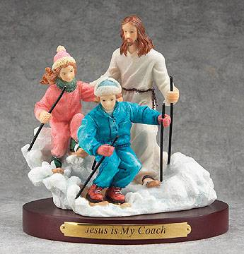 Jesus Sports Statue-Skiing jesus is my coach, sports statue, first communion gift, reconciliation gift, confirmation gift, youth gift, birhtday gift, boy gift, girl gift, sport gift, athlete gift, skiing gift, skiing statue