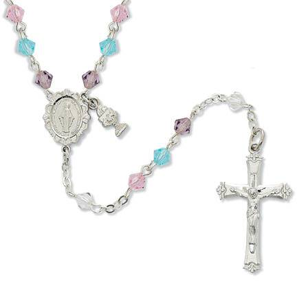Multi Colored Crystal Rosary first communion rosary,colored rosary, first communion gift, special occasion gift, girl gift, crystal rosary,