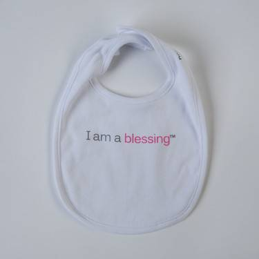%27I am a blessing%27™ Bib cmas15n, baby gear, hat, i am a blessing, white bib, pink words, youth, girl, boy, baby gift, baby shower gift, baptism gift,