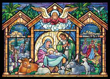 Stain Glass Nativity Scene Boxed Christmas Cards Pack christmas cards, box cards, holy family cards,BRWSTG, holiday cards