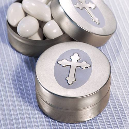Silver Cross Design Mint Tins party favor, cross box, cross gift, cross item, keepsake cross, cros, favors, group gifts, retreat gift, large group gift, cross boxes, candy boxes, candy holders