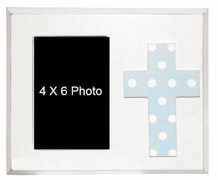 Blue Cross Frame cross photo frame, wood frame, sacramental gift, confirmation frame, communion frame, RCIA frame, cross gift frame, home decor, cfbl/6737