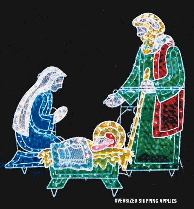 Holographic Nativity Scene holy family, outdoor nativity, indoor nativity, lighted nativity, christmas gift, christmas decor, yard decor, church gift, church items, holy family, 26231